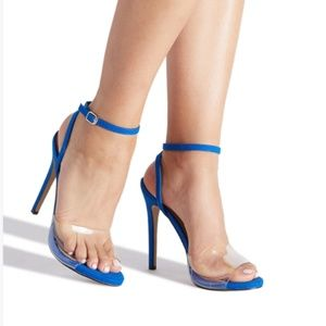 Blue Clear Ankle Strap Heel
